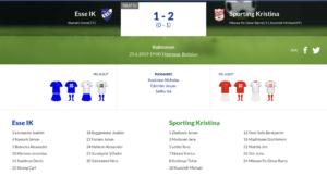 Esse IK – Sporting Kristina 1-2 (0-1)
