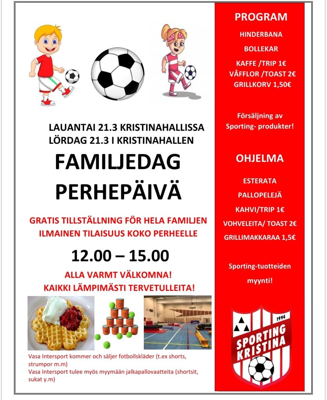 Peruuttu! Sportingin perhepäivä Kristiinahallissa 21.3.2020 klo 12:00-15:00
