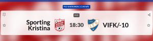 Sportings P12 spelar hemmamatch på tisdag 25.5 kl 18.30 på Braheplan, Sporting – VIFK/10