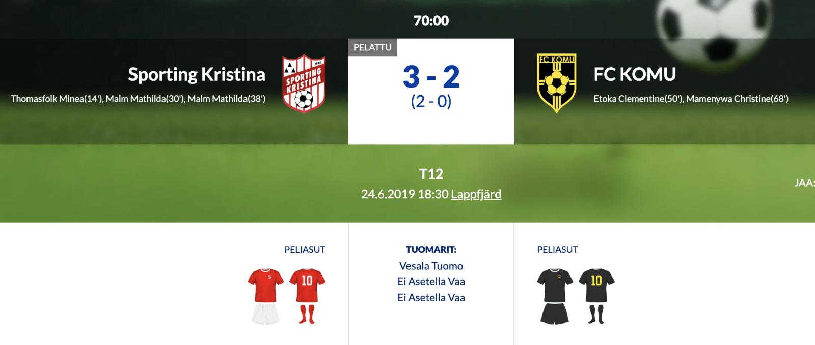 F12 Sporting Kristina – FC KOMU 3-2 (2-0)