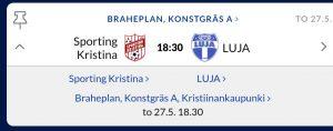 P12 spelar mot Luja på Braheplan to 27.5