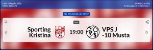 Sporting P12 pelaa tänään 22.6 Kristiinakentällä klo 19.00. Sporting – VPS-j/10