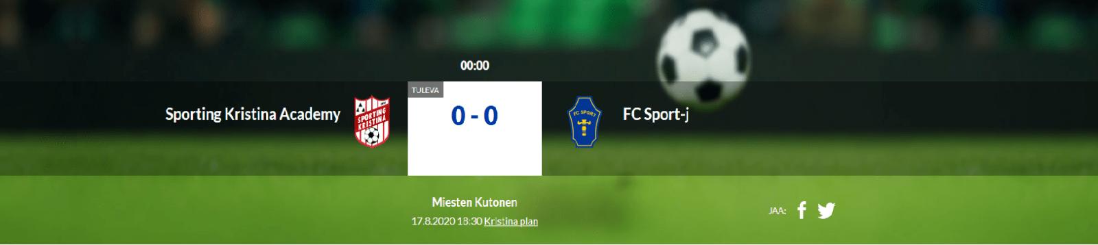 Sporting Kristina Academy – FC Sport-j 17.8.2020 kl.18.30