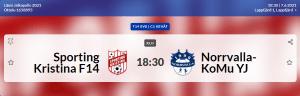 Sporting Kristina T14 – Norrvalla-KoMu YJ