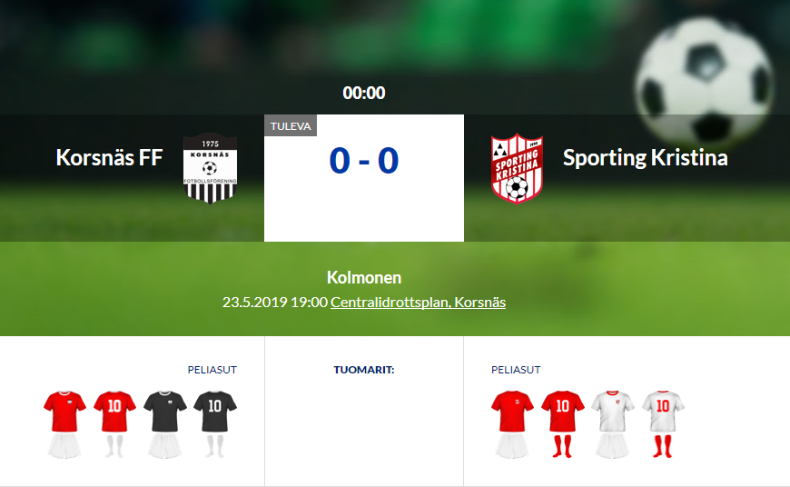 Derby against Korsnäs FF tonight
