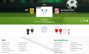 NIK – Sporting Kristina 0-2 (0-2)