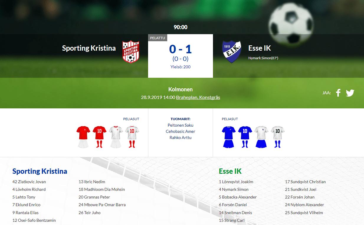 Sporting Kristina – Esse IK 0-1 (0-0)