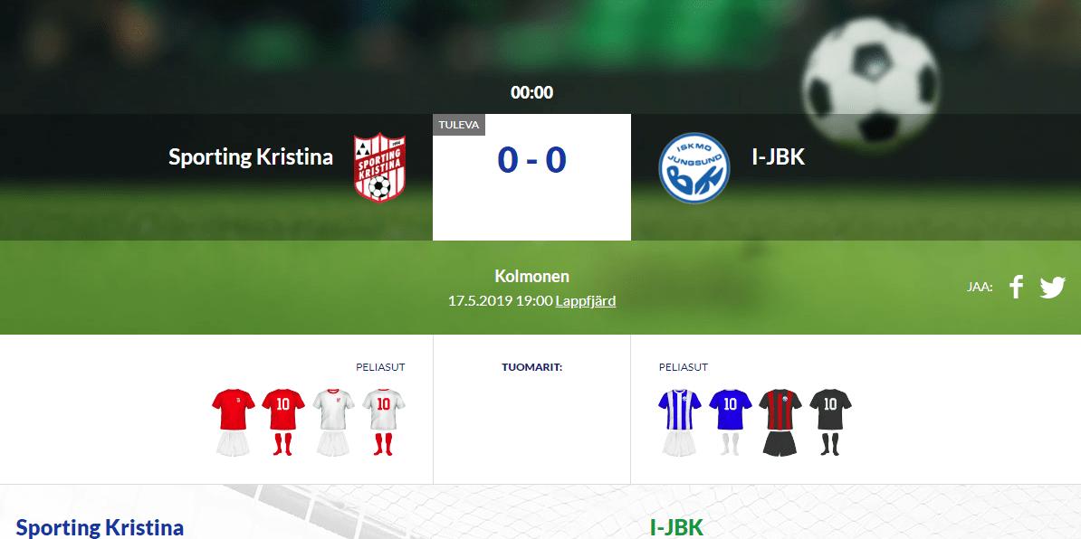 Sporting Kristina – I-JBK Lapväärtissä tänään klo 19:00