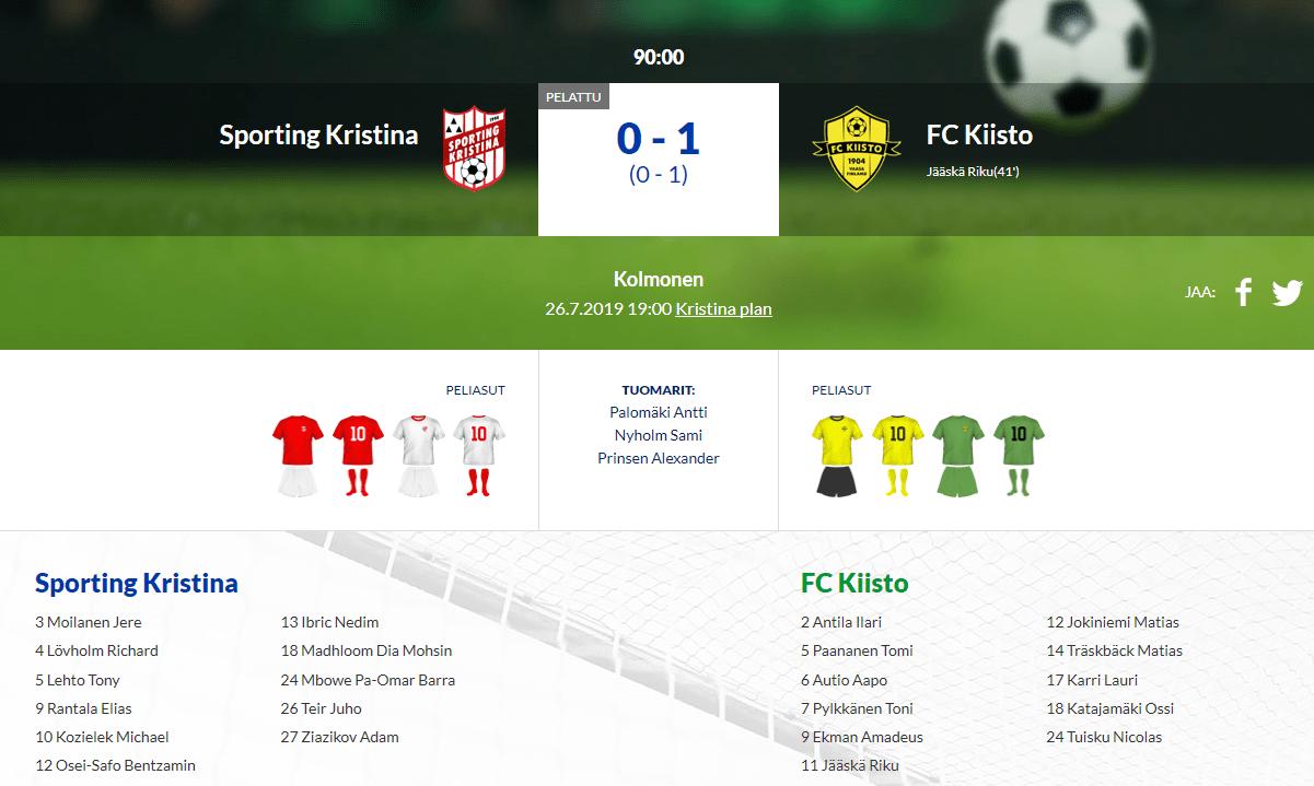 Sporting Kristina – FC Kiisto 0-1 (0-1)