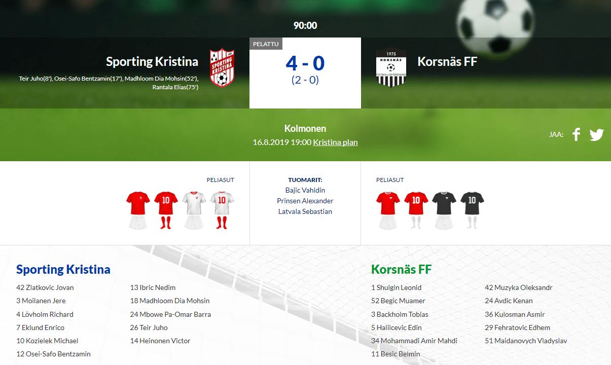 Sporting Kristina – Korsnäs FF 4-0 (2-0)