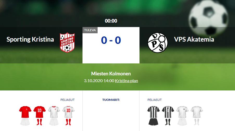 Sporting Kristina – VPS Akatemia 03.10.2020 14:00