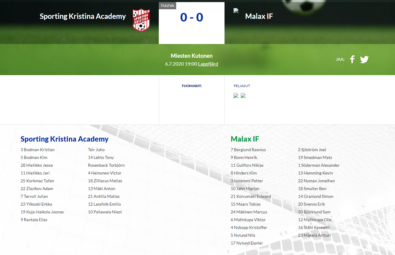 Sporting Kristina Academy – Malax IF