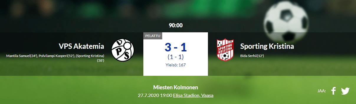 VPS Akatemia – Sporting Kristina 3-1 (1-1)