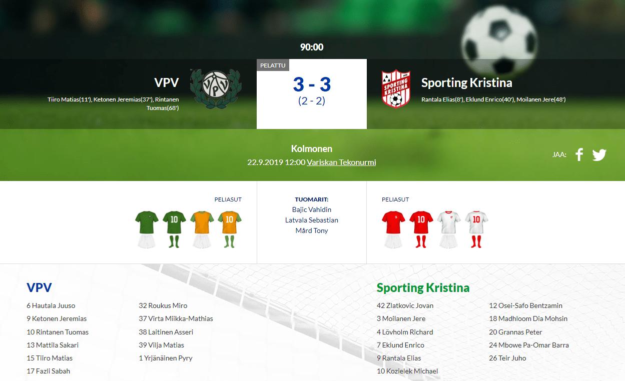 VPV – Sporting Kristina 3-3 (2-2)